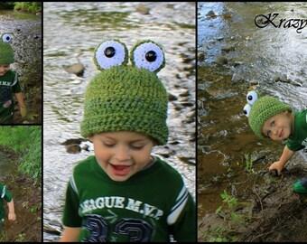 Crochet frog hat.