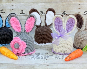 Crochet Bunny hat.Easter bunny hat.Made to order