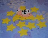 Cow Jumped over the moon baby topper and stars set