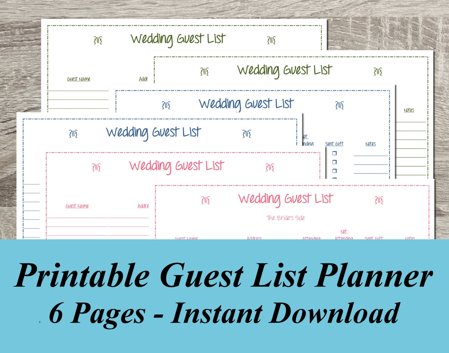 INSTANT DOWNLOAD Wedding Guest List PDF Wedding Planning 6 – Free Wedding Guest List Template