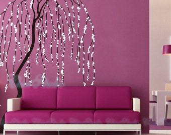 Wall Sticker Wall Decal -  Windy Willow Tree Decal with Butterflies Nursery Decal