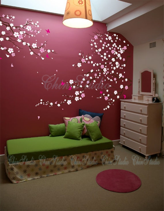 Tree wall decal baby girl Nature Tree Wall mural Nursery wall decal children- Cherry blossoms tree with Butterfly Home arts
