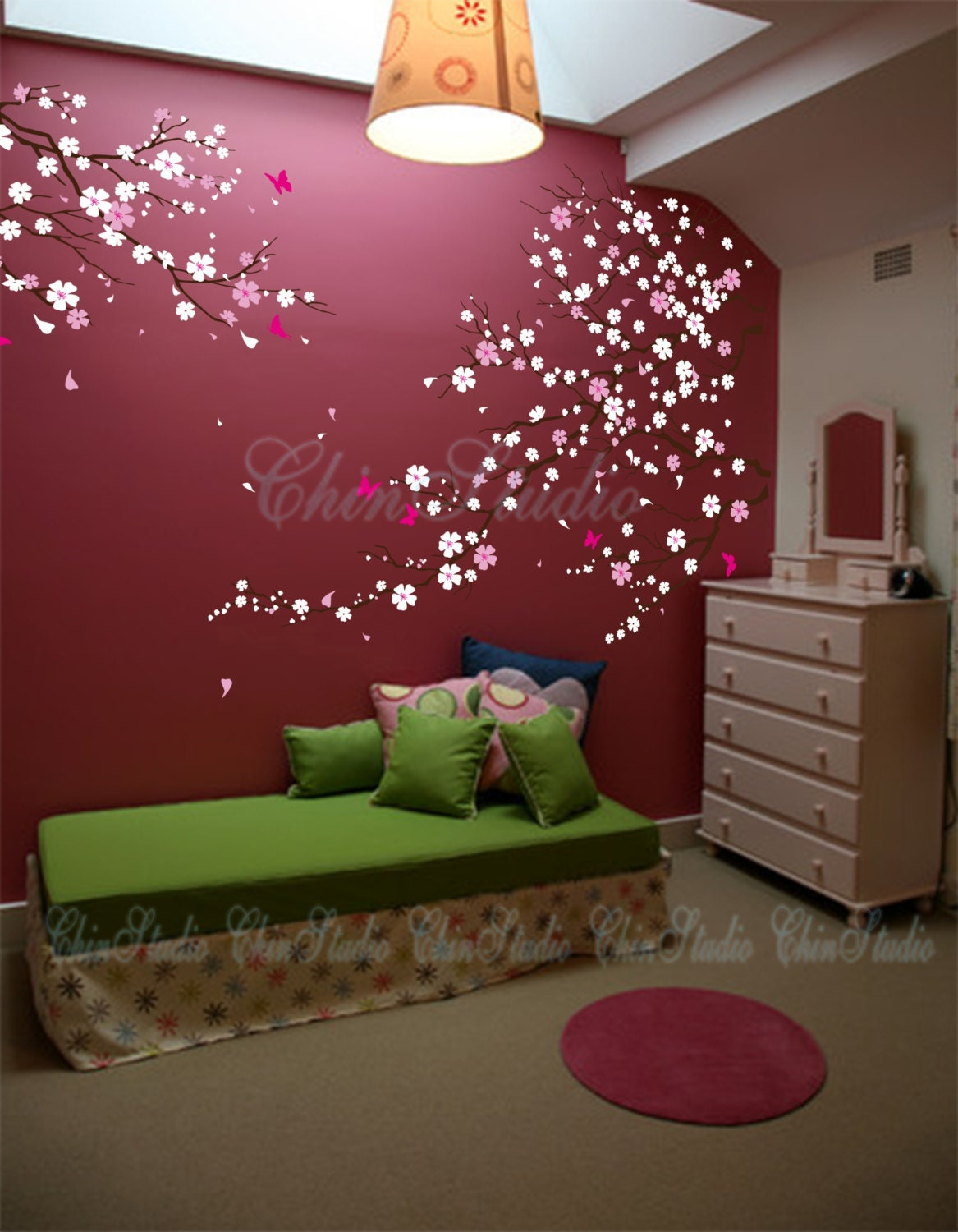 Tree wall decal baby girl nature tree wall mural by chinstudio for Cherry blossom tree mural