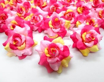 12 Cream & Pink mini Roses Heads - Artificial Silk Flower - 1.75 inches - Wholesale Lot - for Wedding Work, Make Hair clips, headbands, hats