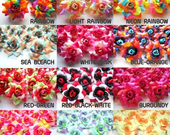 24 mini Silk Roses Heads Multi Tone - Artificial Silk Flower - 1.75 inches - Wholesale Lot - for Wedding Work, Make Hair clips, headbands