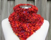 Ladies Red Scarf Neckwarmer Shades of Red Orange and Purple