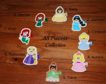 CHOOSE ONE-Felt Embroidered Princess Collection Hair Clip / Toddler Hair Clip / Princess Hair Clip / Disney Inspired Hair Clip