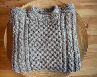 DREAMS of ARAN - Hand Knit Male Aran Sweater - Pure new wool - Size M - Light grey