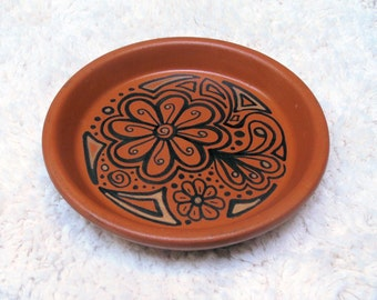 Doodle Dish 3 Ink and Metallic Gold Design Terra Cotta Dish Plate Jewelry Change Home Decor