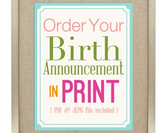 Birth Announcement Print - Birth Announcement Wall Art