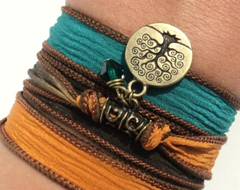 Tree of Life Silk Wrap Bracelet Yoga Jewelry Fall Autumn Earthy Friendship Mother Unique Christmas Gift For Her Under 50 Item S7