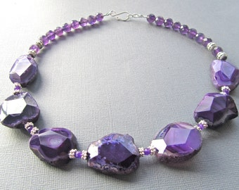 Chunky Statement Necklace, Purple Faceted Agate Slabs, Amethyst, Jade 421