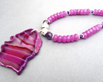 Chunky Hot Pink Statement Necklace, Big Agate Pendant, Fuschia Jade, Amethyst, Natural Stone, Big Bold Chunky, Gift for Her    502