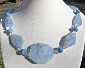 Big Bold Chunky Statement Necklace, Natural Lavender Blue Faceted Slabs, Natural Stone   355