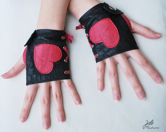 ON SALE! Leather fingerless gloves, black gloves, red hearts, black and red, Valentine's day, Sexy Valentine's day