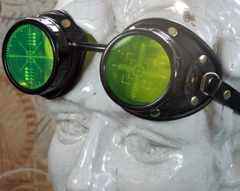 On 'Britain's Got Talent', Steampunk, Goggles, black leather, brass, target etched eye pieces,