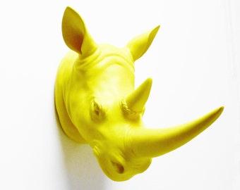 Safari, Yellow Rhino, Faux Rhino head, Rhino Head, Rhino, Faux Animal Head, Fake Rhino Head Australia, Fake Rhino Head, Hodi Home Decor