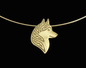 Siberian Husky profile - gold pendant and round omega chain.