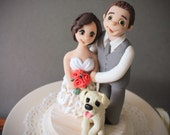 Couple Wedding Cake Toppers - Polymer Clay Cake Figurines