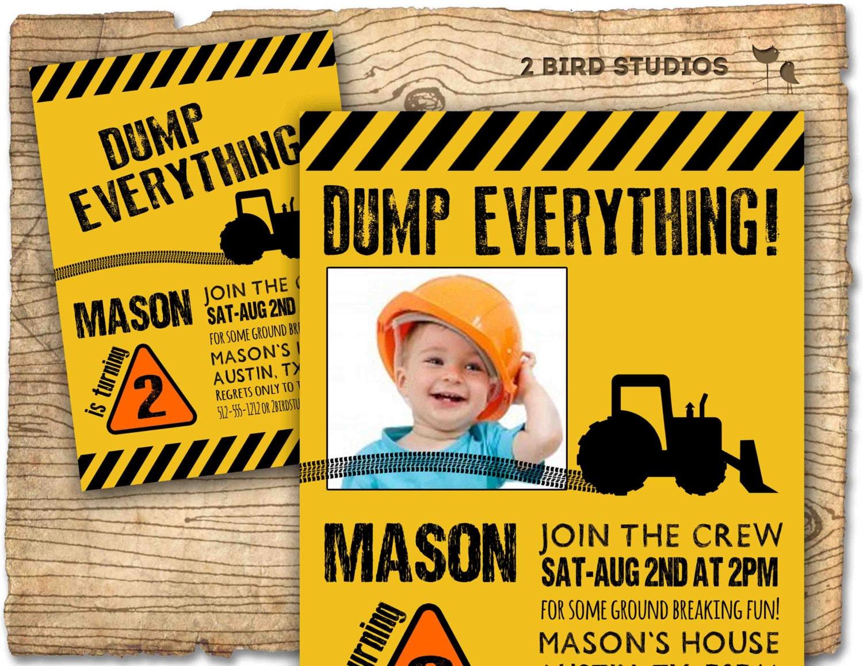 Construction Birthday Party Invitation invite Personalized – Bob the Builder Party Invitations