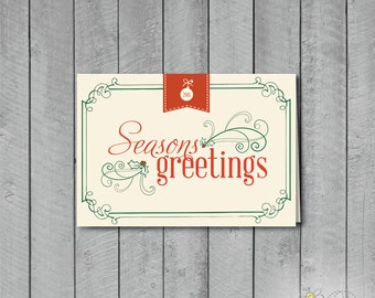 Set of 10 Vintage Style Seasons Greetings Holiday Cards + Envelopes
