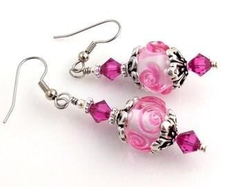 Pink Lampwork Earrings, Dangle Earrings, Fashion Jewelry, Gifts, Mother's Day, Weddings, Easter, Career Wear, Pierced Earrings