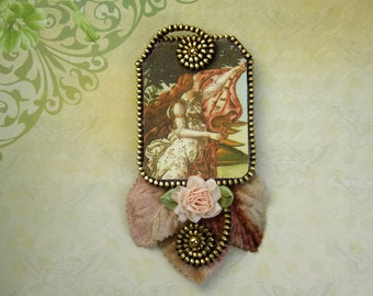 A Scene from The Birth of Venus by Botticelli Felt Zipper Brooch