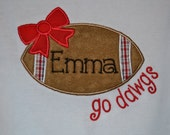 Go Bulldogs! Football w/ bow Appliqued Tshirt or Bodysuit
