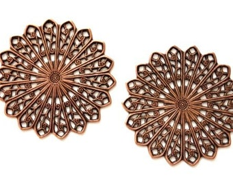 4  Filigree Round Stamping, 35mm, Copper Ox