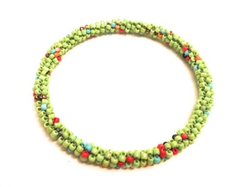 Handmade bangles with natural handpicked beads in light green, assorted colors, gifts for her, bead bracelet