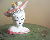 Vintage Lady Visage Vase- Circa 1950s- Lefton Collectibles