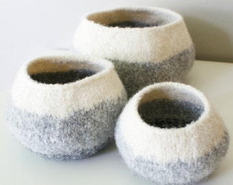 "DIY Knitting PATTERN - Knit Wool Felt Graduated Ombre Pods / Bowls (in 4"", 6"", and 8"" diameter)"