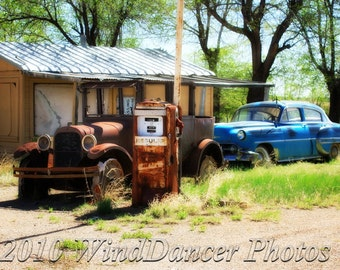 Old Route 66, Old Gas Station, Rt 66 Gas Station, Rusted Model T, Old Car, Fine Art Photo, Americana,Matted 12x16 Photo, Retro, Gift for Men