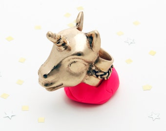 Peaches the Unicorn ring. bronze