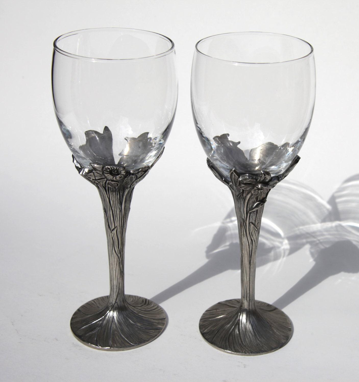 1990 Signed Pewter Crystal Wine Toasting Flutes Tulips