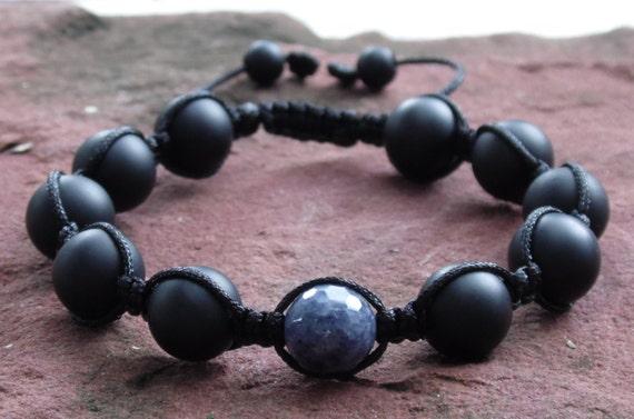 Blue Sapphire & Matte Onyx Shamballa Macrame  Bracelet