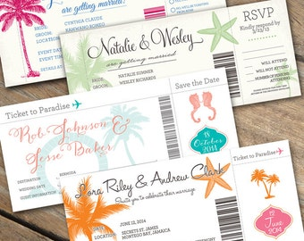 Boarding Pass Wedding Invitations with optional detachable RSVP card
