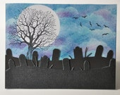 Hand stamped Halloween card, spooky graveyard, stormy night, full moon