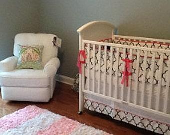 Three Piece Crib Bedding in Black and white trellis fabric-Crib bumper, skirt and sheet