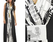 VTG 70s Deep V Black White Abstract Paint Gypsy Hippie Boho Festival Maxi Dress