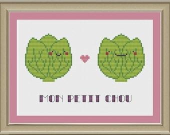 Mon petit chou: cute cabbage cross-stitch pattern