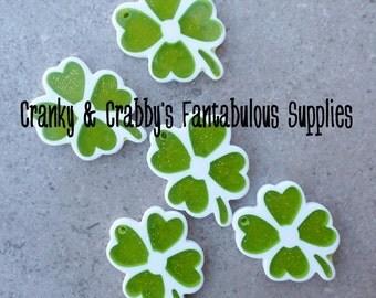 Set of 4 Resin Shamrock Pendants -  47mm x 30mm - Green & White - 4 Leaf Clover