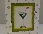 Golf Ball Martini glass Green Birthday Retirement card