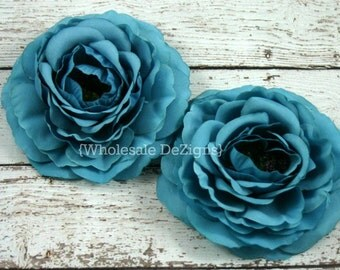 """Clearance Turquoise Ranunculus Flowers - 3.5"""" - Ruffled Sturdy Flowers - Turquoise Blue"""