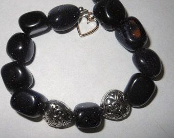 Blue Goldstone Pebble and Heart Bracelet