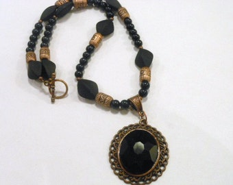 Black and Copper Bead Necklace