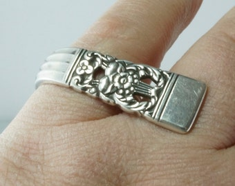 Silver SPOON ring. CORONATION spoon ring.  Unique Silver Ring. Boho Ring. Silverware Ring. Choose size .Cecile Stewart Spoonjewelry No.00173