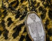 Skeleton Glass Coffin Necklace Macabre