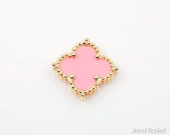 Pink Clover Pendant in Gold, 1piece of Pink Clover Necklace Pendant / 19mm x 19mm / SPKG050-P (1piece)