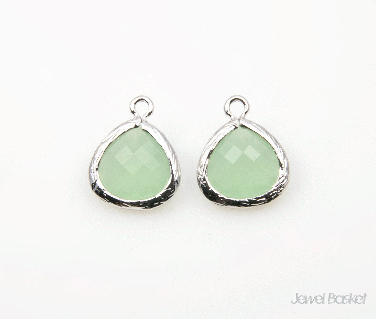 Light Mint Color Glass And Silver Framed Pendant 2pcs Light